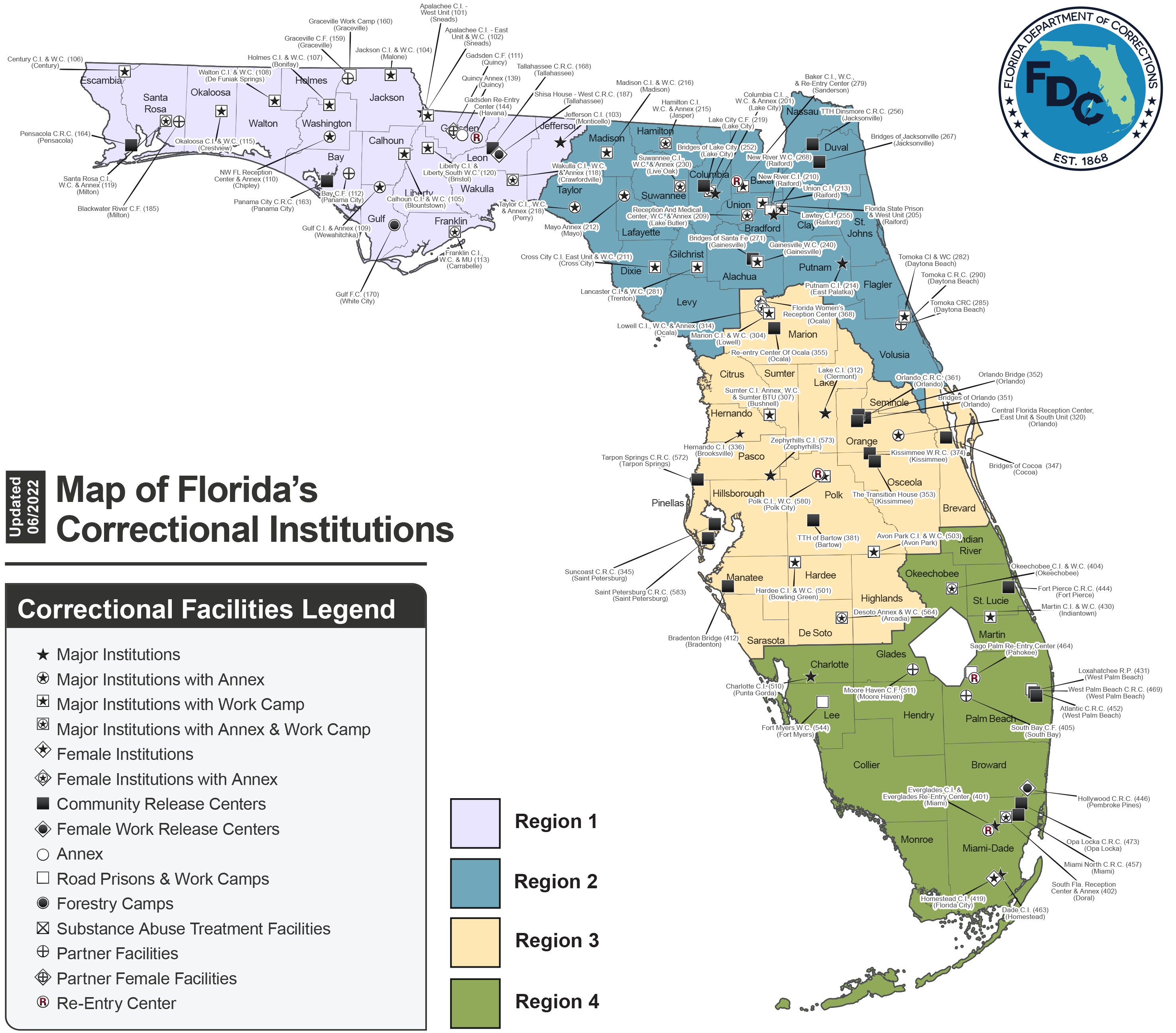 Large Institutions Map -- Florida Department of Corrections